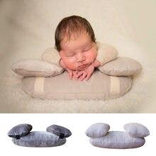 Almofada de solteiro para bebês, foto, adereços de fotografia, bebê recém-nascido, 3 pçs/set, gancho e almofadas removíveis, travesseiro com preenchimento de fotografia
