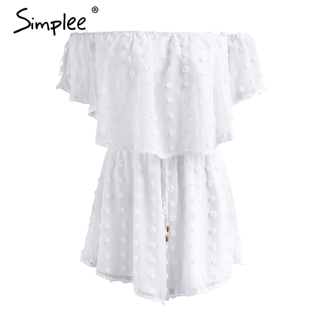 Simplee Off shoulder white chiffon jumpsuit romper Summer beach casual short playsuit Women elegant ruffle streetwear overalls