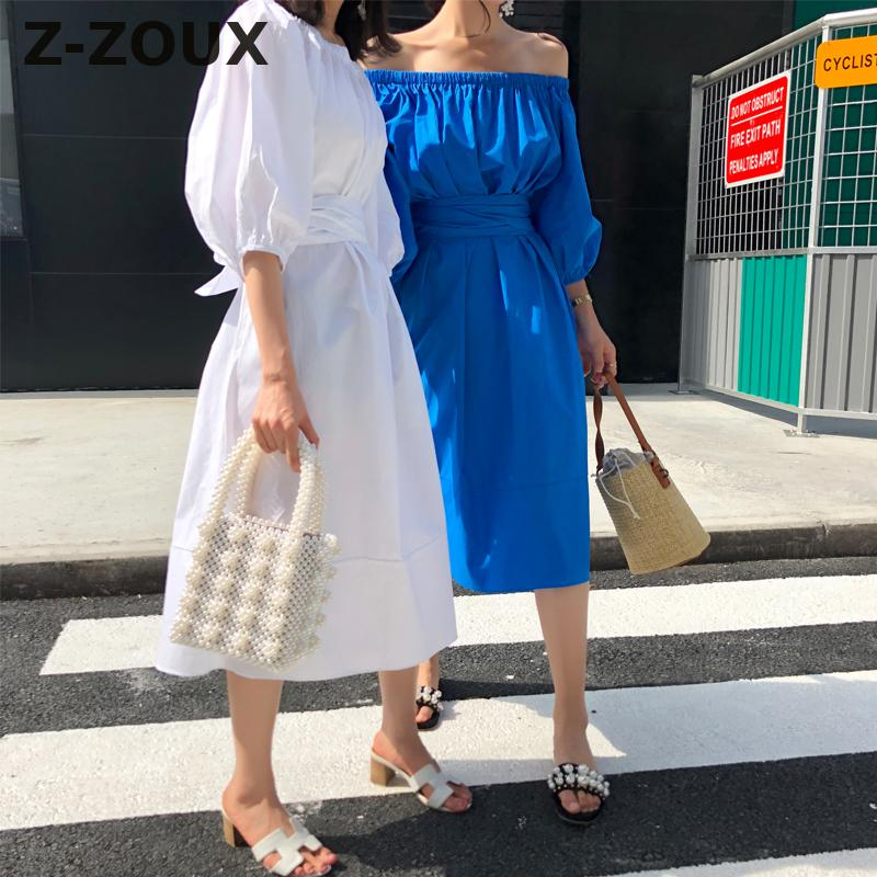 De Robes Taille Casual white Haute Arc Blanc zoux Femmes Sexy Robe L'épaule Z Porter Bandage Longue Solide Blue Coton A1YSxw