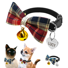 Personalized Puppy Kitten Plaid Bell Bowtie Collar With Custom Engraved Pet Dogs Cats ID Tag Small Cat Dog Collars For Chihuahua