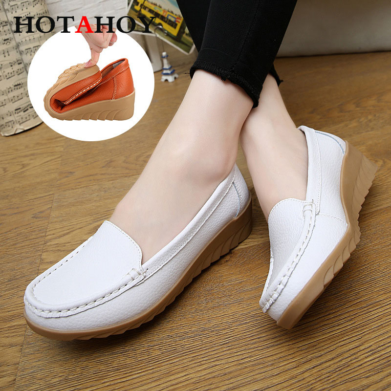 HOTAHOY Women Genuine Leather Shoes Female Shoes Girl Casual Comfort Low Heels Loafers Nurse Shoes