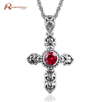 Luxury Cross Pendant Necklace Princess Cut Lab Ruby CZ Stone Vitnage Necklace Pendant For Lady Women 925 Sterling Silver Jewelry