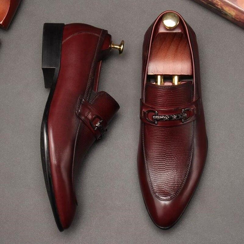OMDE кожаные туфли в британском стиле Для мужчин острый носок официальная обувь летние Для Мужчин's Нарядные туфли без застежек стильные свад