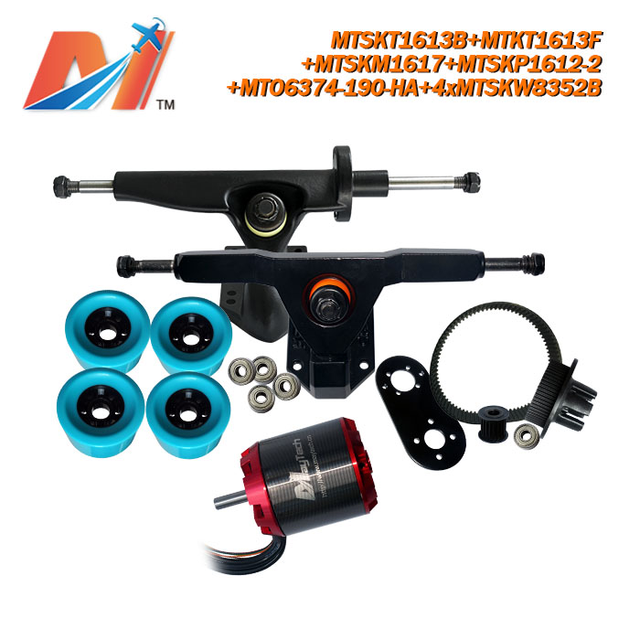 Maytech for flyboard hoverboard <font><b>6374</b></font> <font><b>190KV</b></font> big <font><b>brushless</b></font> <font><b>motor</b></font> and e skateboard pulley with belt and wheels image