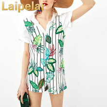 Laipelar V-neck striped leaves printed short jumpsuit European and American style Autumn fashion rompers overalls women