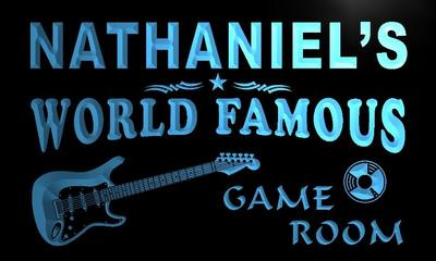 x0207-tm Nathaniels Guitar Game Room Custom Personalized Name Neon Sign Wholesale Dropshipping On/Off Switch 7 Colors DHL
