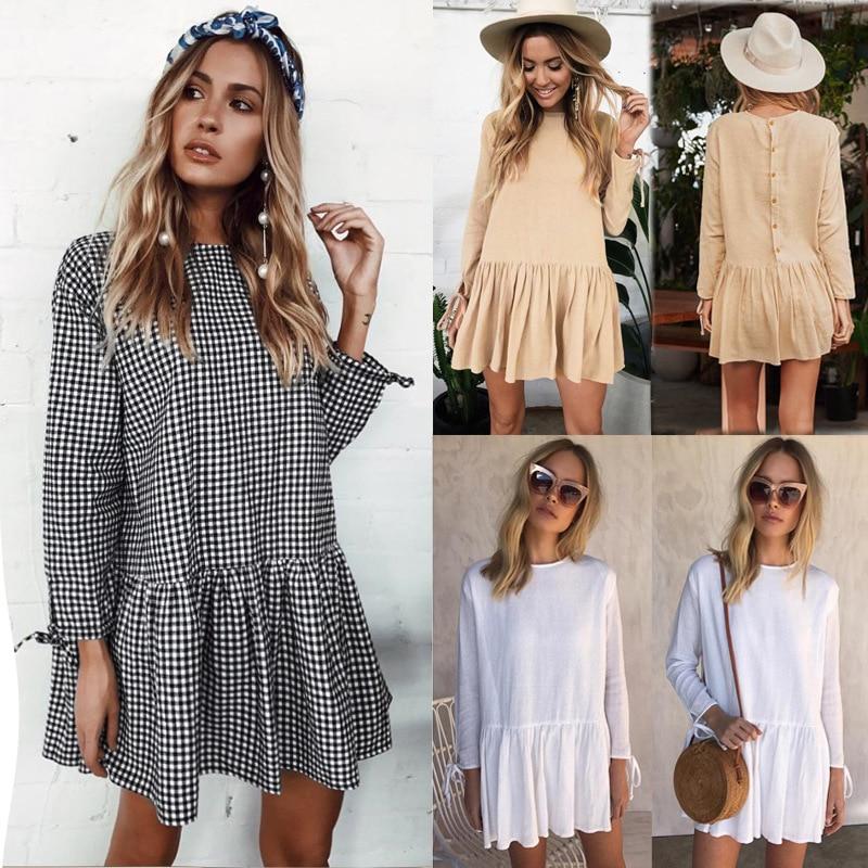 New Autumn Women Long Sleeve 2017 Loose Lace Dress Fashion Vestido Vintage Female Mujer Casual Ruffles