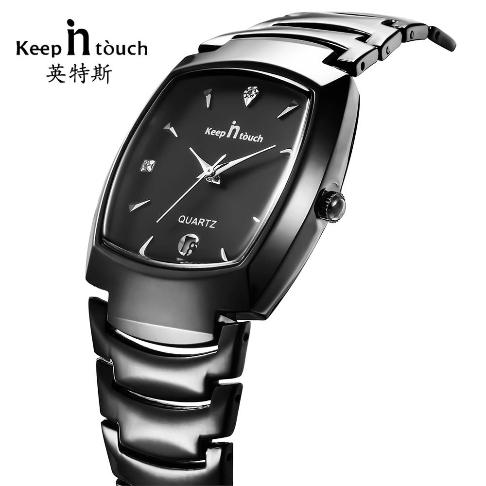 Garder en contact haut marque montre hommes noir affaires calendrier Quartz hommes montres robe en acier inoxydable mâle horloge erkek kol saati
