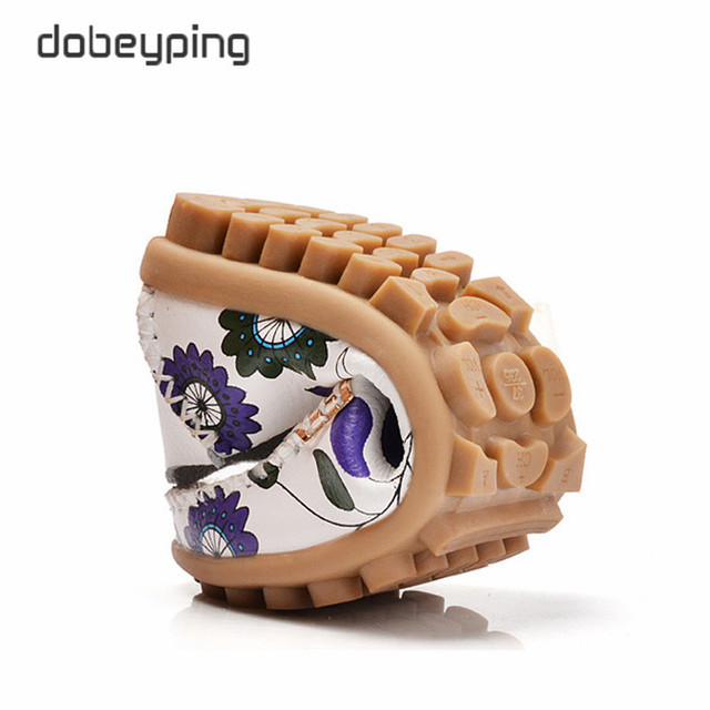 2017 New Design Print Flower Women's Casual Shoes High Quality Genuine Leather Women Flats Slip On Female Loafers Lady Boat Shoe