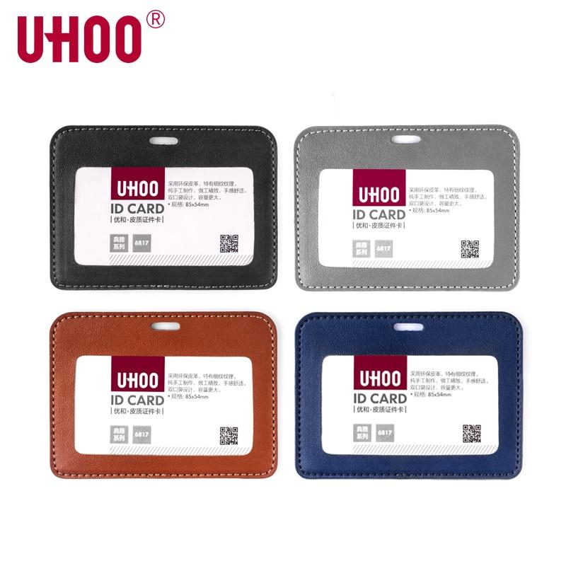 UHOO 6817 Leather Card Holder Credit Card Wallet Name Badge Holder Two Slots Exhibition Card Holder Wallet - Horizontal