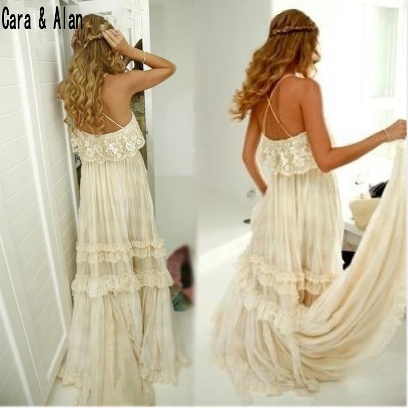 0e81efe1ba912 Mryarce Vintage Hippie Style Boho Beach Wedding Dress Sexy Spaghetti Straps  Tiered Lace Chiffon A Line Gybsy Bridal Gowns