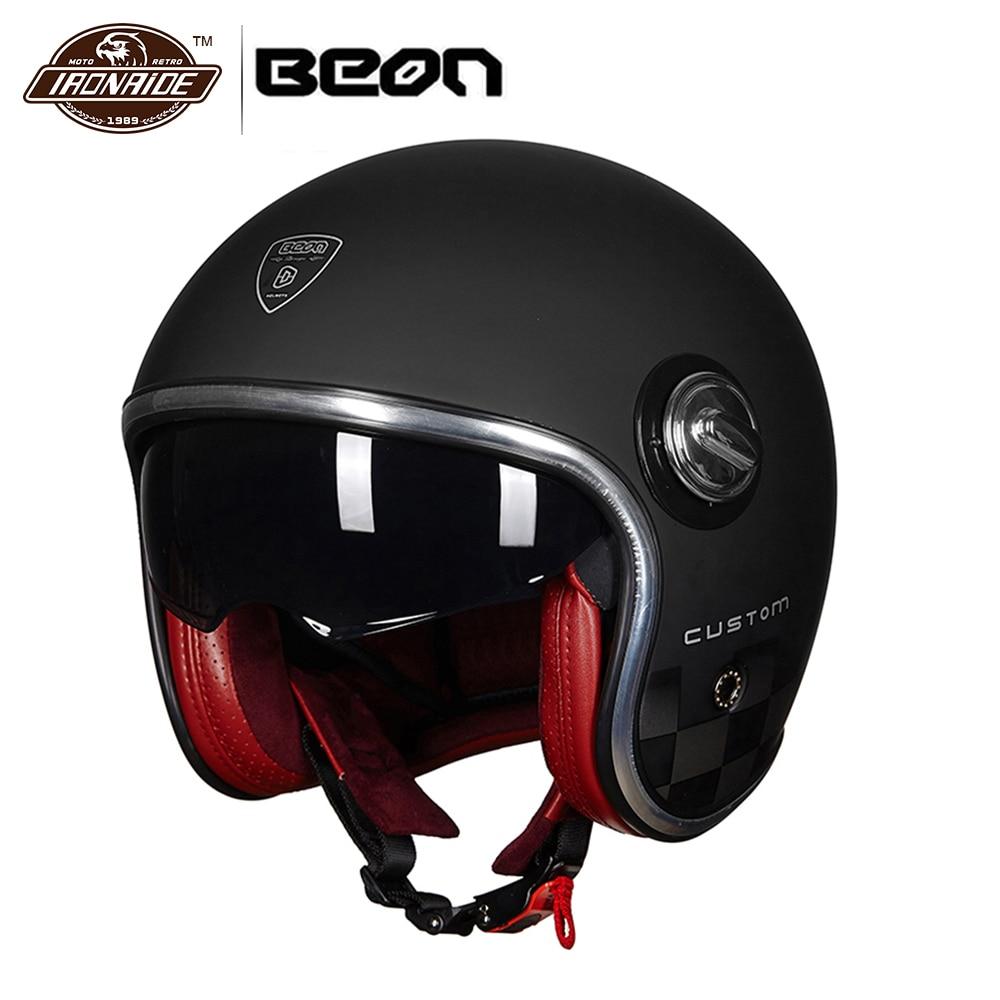 BEON Motorbike Casco Motorcycle Helmet Vintage Moto Helmet 3/4 Open Face Capacete Biker Retro Scooter Helmet Double Visor стоимость