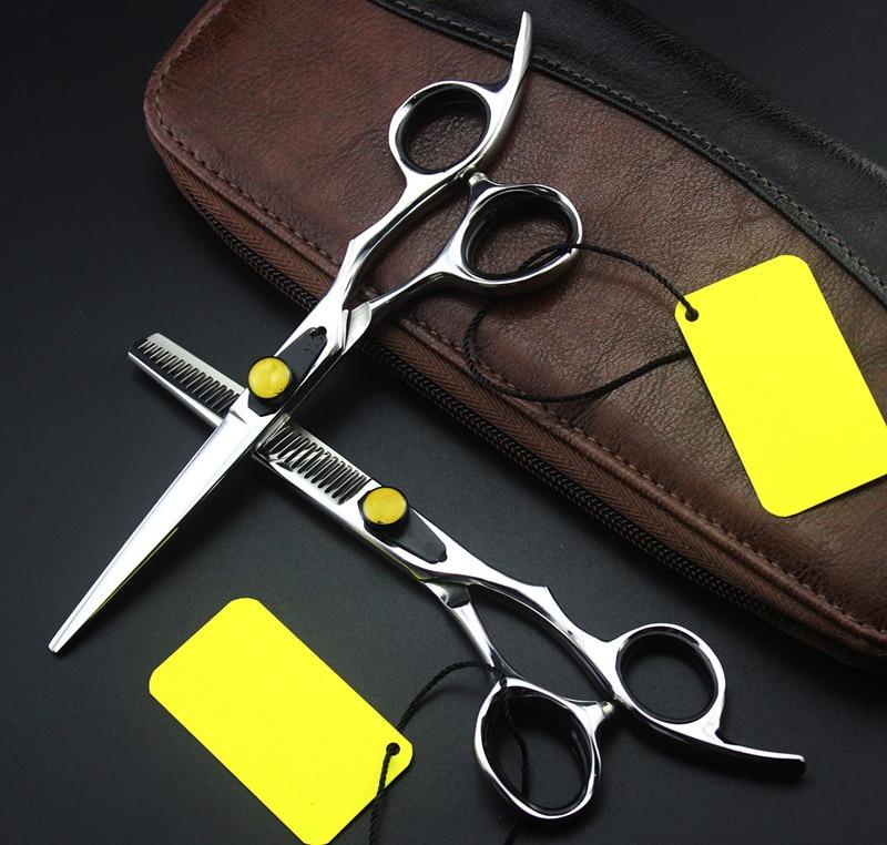 Högkvalitativ professionell 6,0 tums Japan 9cr13 gallringsskär skärning frisör klippa hår sax set makeup frisör sax