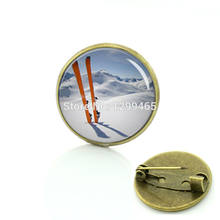 Broche Unique Design Interesting Sport Silhouette Badge Exquisite Ski Specimens Pin Formal Skiing Wear Necktie Brooches C 1068(China)
