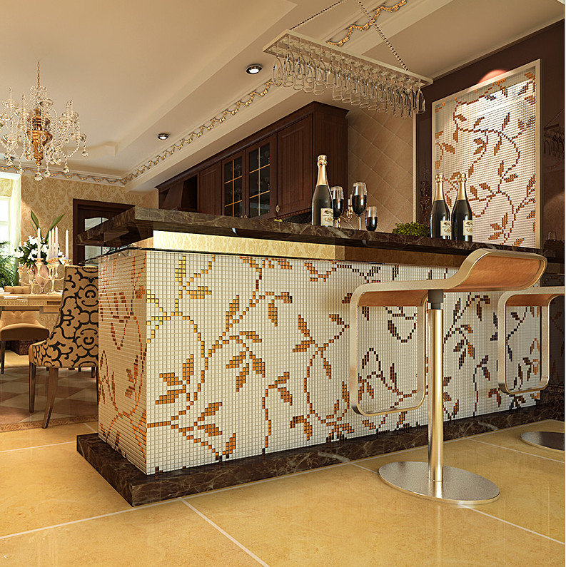 New 3d leaves pattern glass mosaic painting kitchen for 3d wallpaper for kitchen walls