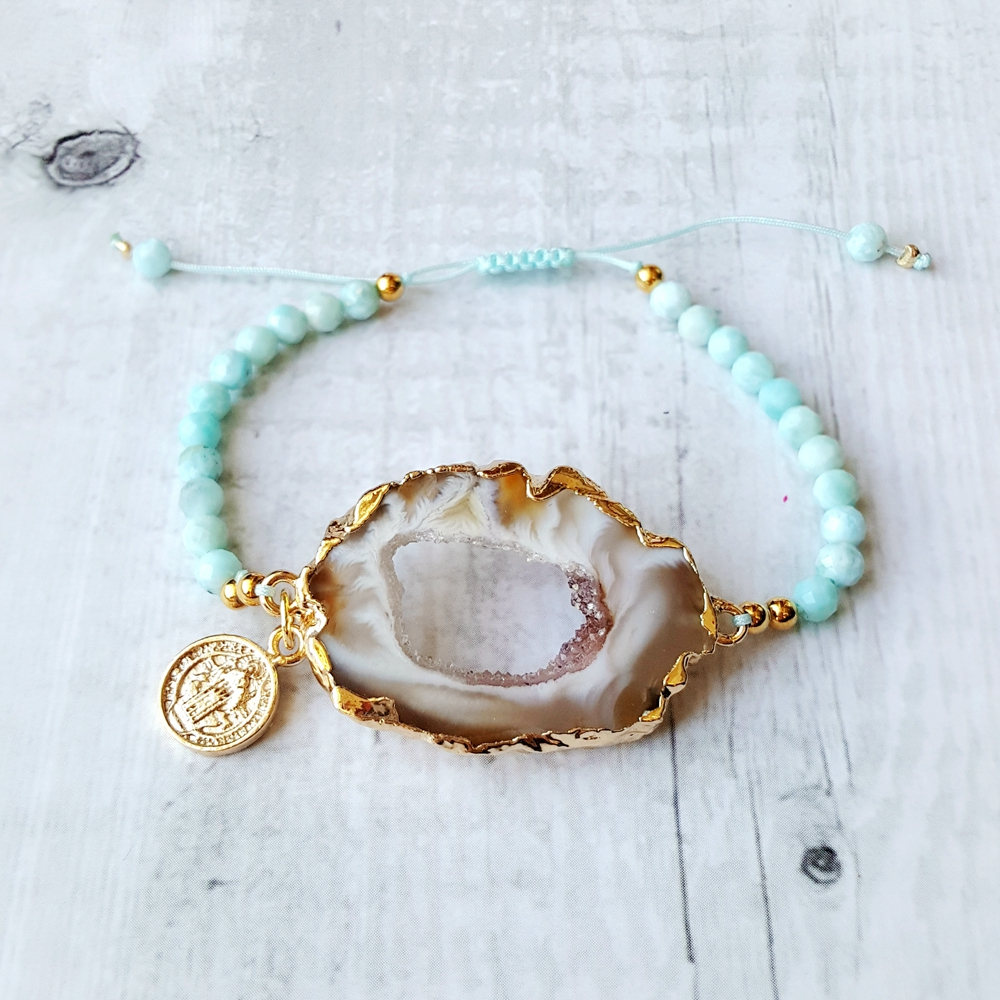 Lii Ji Larimar Drusy Druzy Crystal Agate Natural Stone Rope Bracelet For Women Man Jewelry Dropshipping