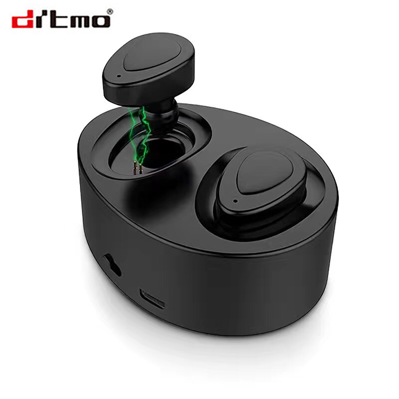 Drtmo TWS Bluetooth Earphones True Wireless Earbuds Mini Stereo Music Headsets Hands-free With Mic Charging Box for Phones