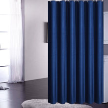 Navy Blue Shower Curtains Waterproof Solid Bath Curtains For Bathroom Bathtub Large Wide Bathing Cover 12 Hooks rideau de bain(China)