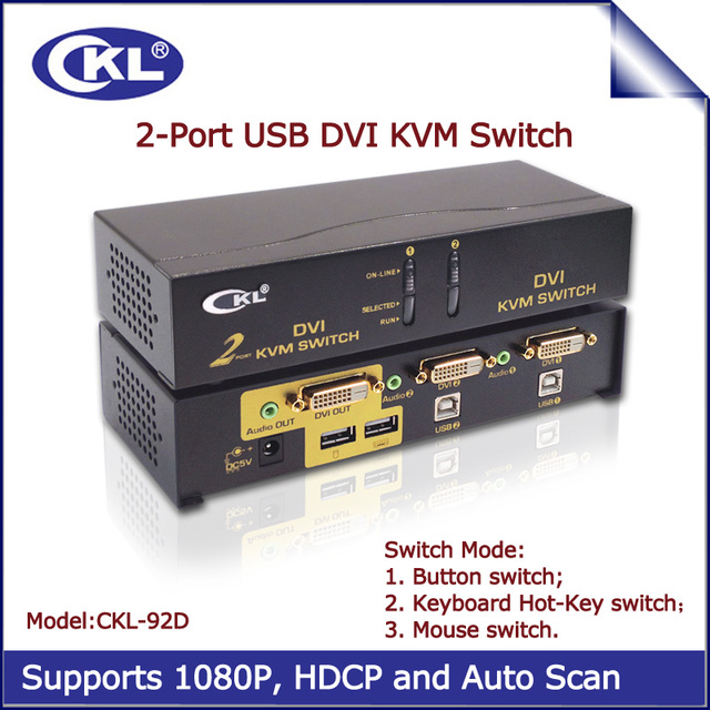 Ckl 2 puertos usb kvm switch dvi con audio, Monitor de PC Teclado Ratón Switcher (CKL-92D)