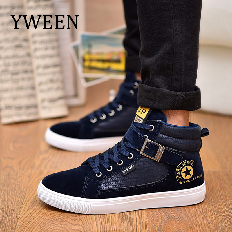 2a6738f230a YWEEN Men s Casual Shoes Autumn Winter New Lace-up Style Fashion Trend  Suede Flat Breathable ...