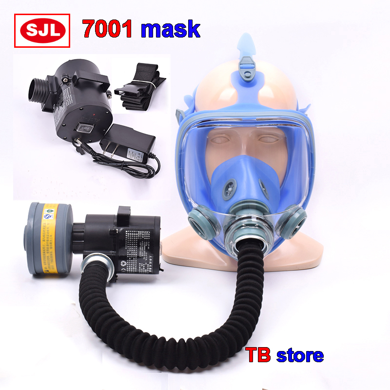 7001 Full Mask + Electric Blower Combined Respirator Mask High Definition Anti-fog Electric Healthy Breathing Protective Mask