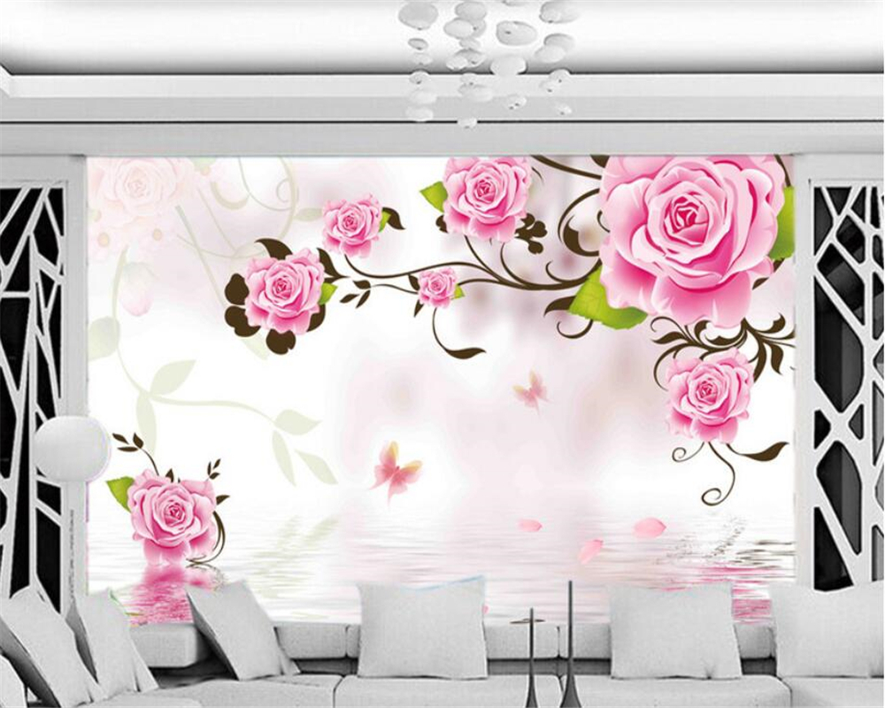 beibehang Mural 3d wallpaper 3d wall papers for tv backdrop Fantastic rose reflection modern Home decoration 3D wallpaper
