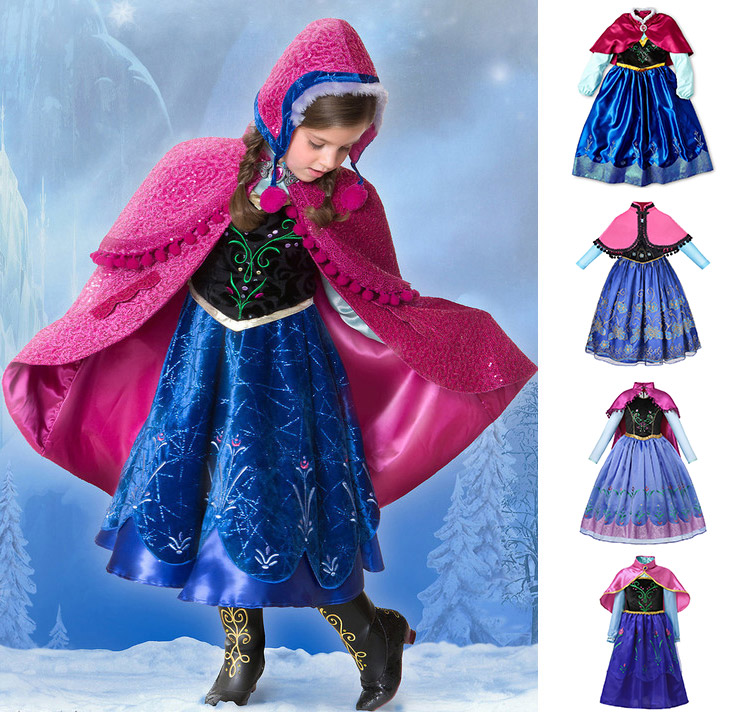 New Winter Princess Cloak Cape Girls Cosplay Costume Party Ball Halloween