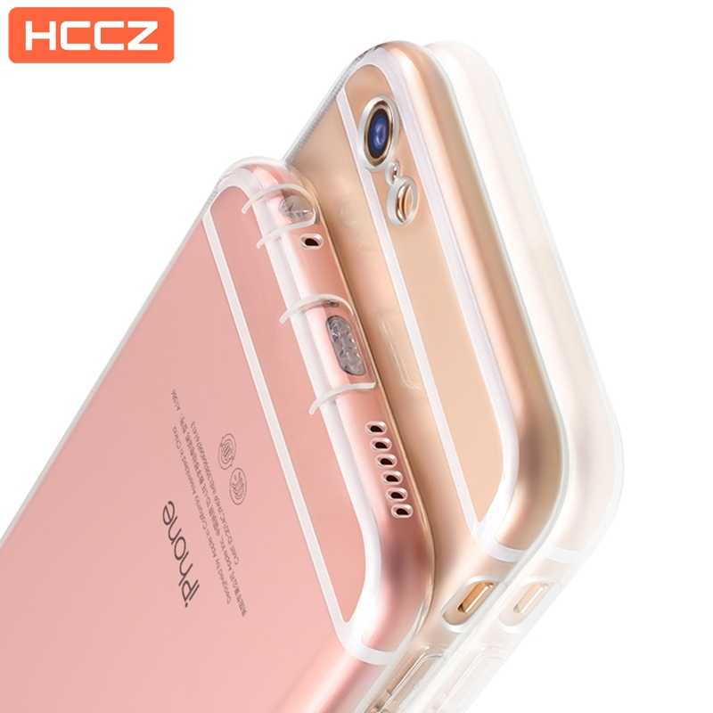 HCCZ for Apple iPhone 6 6s Plus Silicone Soft Case iPhone 7 8 Plus iPhone X 5 5s SE With Dust plug Transparent Case Cover