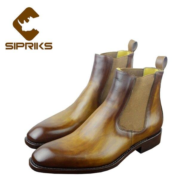Sipriks lüks patine deri chelsea çizmeler erkekler için sarı streç deri çizmeler bordo düz chelsea çizmeler Goodyear welted yeni