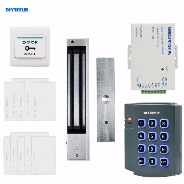 DIYSECUR 280KG Magnetic Lock 125KHz RFID ID Card Reader Password Keypad Access Control System Security Kit