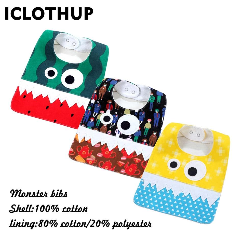 ICLOTHUP 100% Cotton Waterproof Big Eye Monster Newborn baby bib ,3pcs per lot