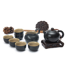 ФОТО newchinaroad black porcelain xishi teapot set of 8pcs traditional chinese kung fu tea ceremony