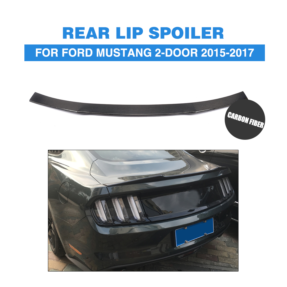 For Ford <font><b>Mustang</b></font> Coupe <font><b>2015</b></font> 2016 2017 Carbon Fiber / FRP Rear Spoiler Car Trunk Sticker Boot Lip <font><b>Wing</b></font> image