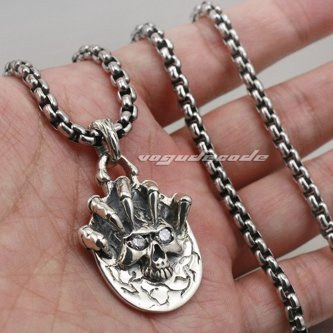Solid 925 Sterling Silver Claw Skull Mens Biker Pendant Biker Jewellery 8C007(Necklace 24inch)