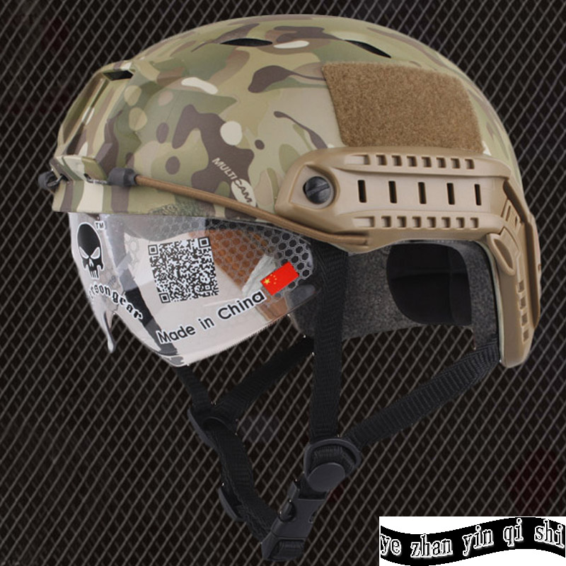 цены Emerson FAST Helmet With Protective Goggle BJ Type Helmet Military Airsoft Helmet tactical Army Helmet free shipping
