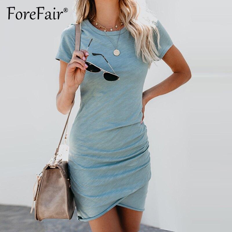 Forefair Dünne Sommer Kleid 2018 Frauen Sommerkleid Kurzarm O Neck Rüschen Bodycon Kleid Damen Casual Solide T Shirt Kleider