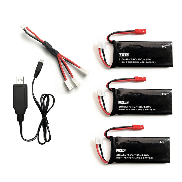 Original Hubsan X4 H502S H502E  H216A 7.4V 610mAh lipo battery 15C 4.5WH battery With Charger Set For RC Quadcopter Drone Parts