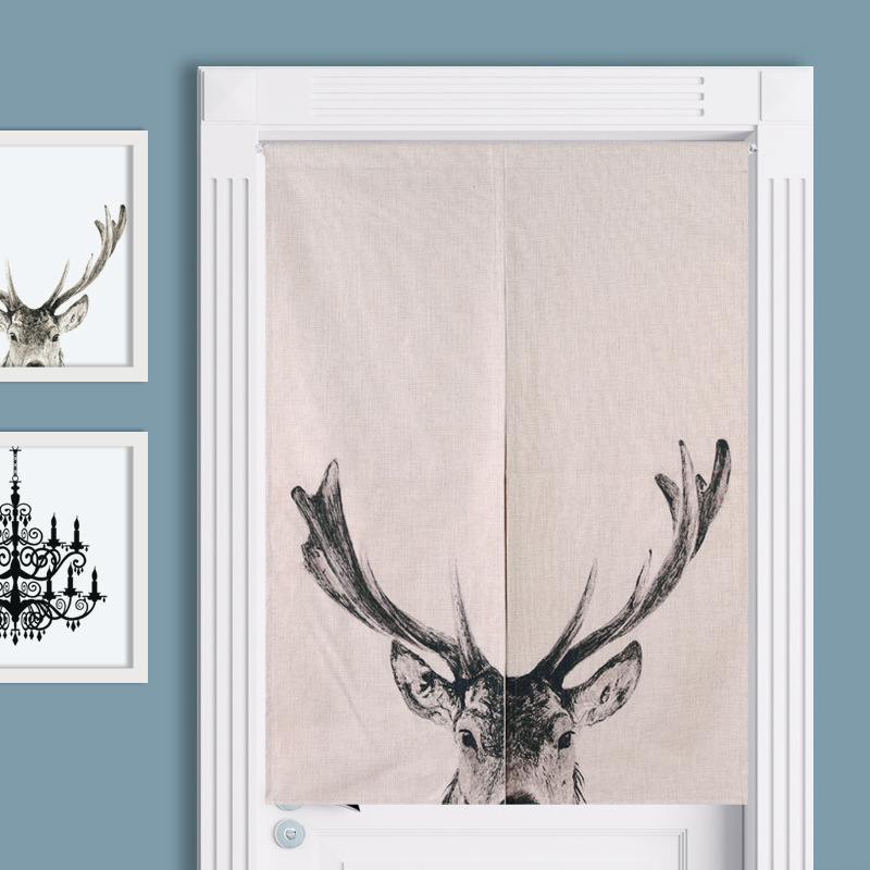 New Linen NOREN Japanese Style Door Curtain Deer Geometric Yellow Printed Tapestry 85x120cm/85x90cm tassels pillow