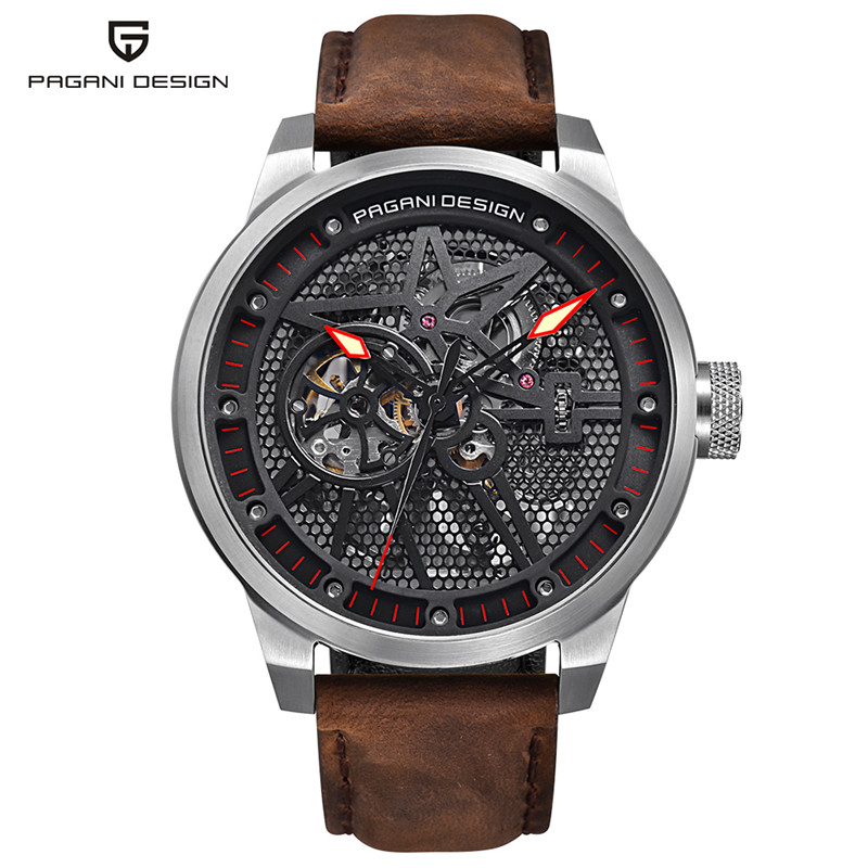 PAGANI DESIGN Men Military Automatic Self-Wind Watches Pilot 3ATM Water Resistant Genuine Leather Band Sport Male Wristwatch pagani men stainless steel watches mechanical wristwatches automatic self wind complete calendar water resistant clock brand