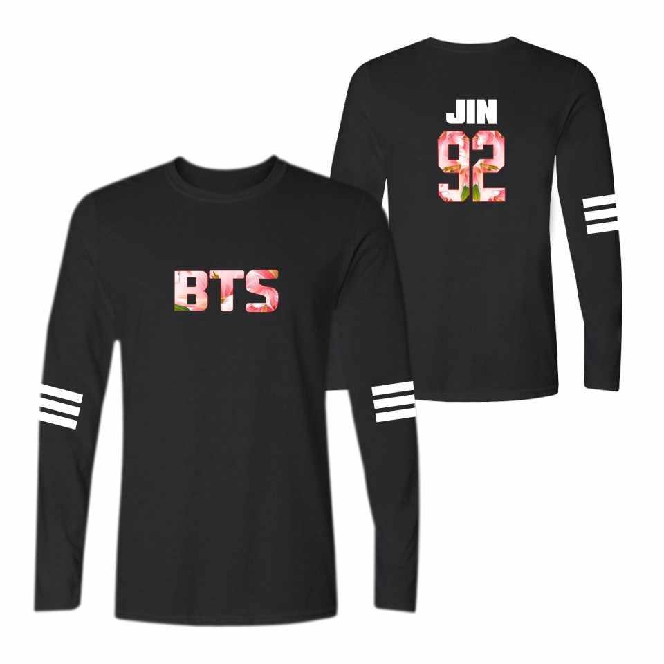Kpop Bangtan мальчики корейский стиль футболка женская брендовая футболка с длинным рукавом Женская одежда в фанатах женские хлопковые футболки 4xl черный