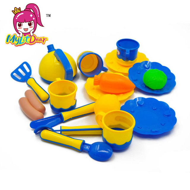 Mylitcher 18 pièces/ensemble enfants jouets maison cuisine jouets cuisine plats ustensiles de cuisine semblant jouer cuisine Playset jouets dans la boîte