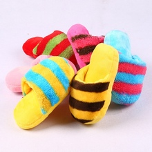 Funny Pet Cat Dog Toys Popular Soft Plush Vocal Slippers Squeak Toy Cute Colorful Striped  Teddy Chew