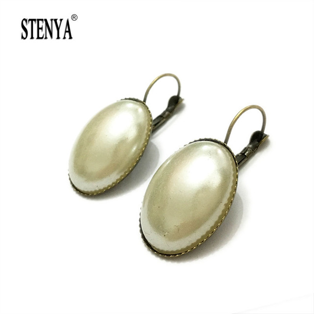 Stenya Drop Earrings Cameo Cabochon Bezel French Hook Clip Clasp Pearl Pearls Glue Beads Hooks