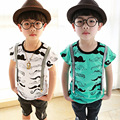 Размер90 ~ 130 мода ребенок вершины тройники детская одежда дети футболки для мальчиков летом с коротким рукавом футболки синий белый