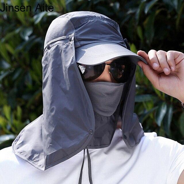 10fe9279095 Outdoor Summer Sun Hats Protection Fishing Camping Hiking Cap Women Men  Neck Face Sunscreen Flap Hat Cycling Sun Mask Cap 1864