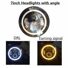 High quality 7 Inch Round Led Headlight Halo Angle Eyes led headlamp for Jee-p Weangler Unlimited JK LJ TJ