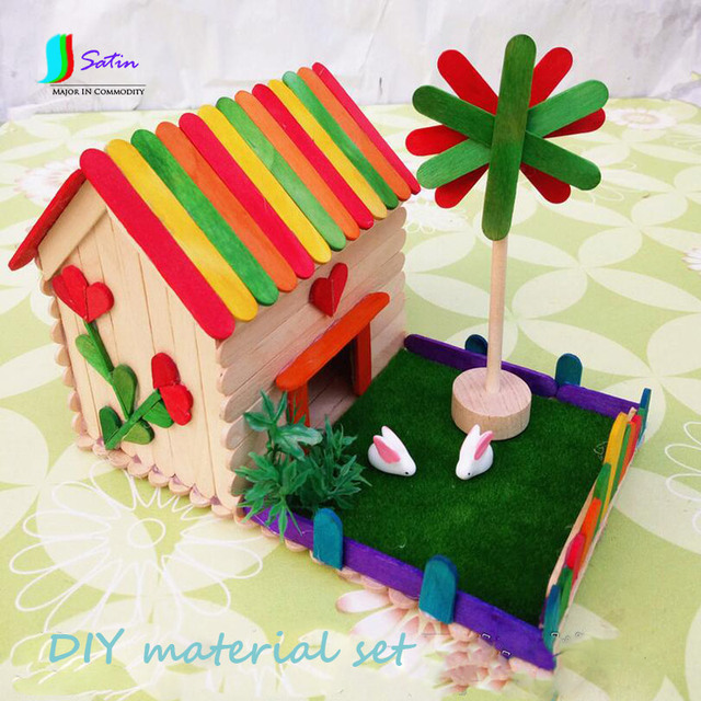 Ice Cream Stick Material Set For Child Diy House Windmill Material