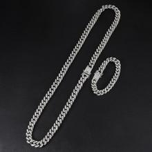 D& Z хип хоп 13 мм кубинские звенья цепи для мужчин Iced Out Bling Стразы Chaine Homme модные ювелирные изделия