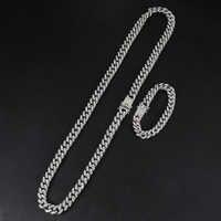 D & Z в стиле «хип-хоп» 13 мм Майами КУБИНСКИЙ звено цепи Цепочки и ожерелья цепи из нержавеющей стали Стразы Chaine Homme для мужская бижутерия