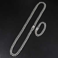 D&Z Hip Hop 13mm Miami Cuban Necklace Iced Out Bling Rhinestone Chaine Homme for Men Link Chain Jewelry Bijoux